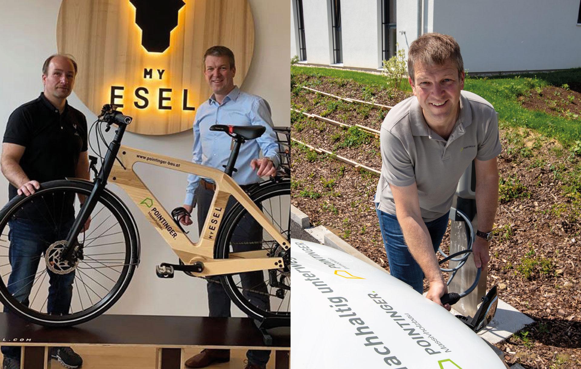 Nachhaltig unterwegs mit Pointinger | Elektroauto und E-Bike aus Holz