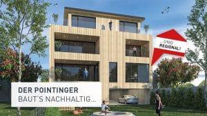 Visualisierung des Massivholzbaus in Grieskirchen mit rot-weiß-rotem Hinweis