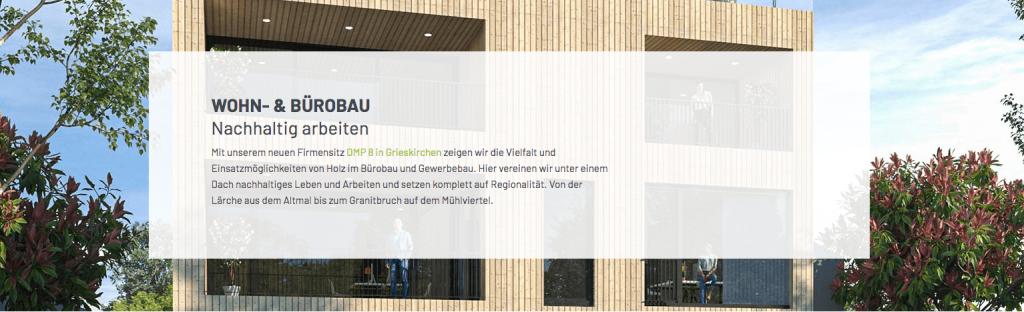 DMP8 im Hintergrund als neuer Firmensitz von #teammassivholzbau Pointinger